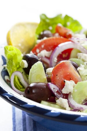 Bowl of Greek salad, in closeup. photo