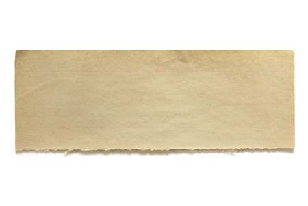Ripped paper: Ripped piece of fifty year old notepaper, isolated on white.  Lots of copy-space for your message.  Great textures.