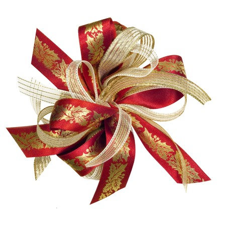 gold bow: Red and gold Christmas ribbon bow, with holly motif.  Isolated on white. Stock Photo
