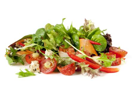 Salad, isolated on white background.  Delicious healthy eating. photo