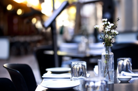 Pavement cafe table, with casual setting.  Focus on flowers, with blurred background. Stock Photo - 8157658