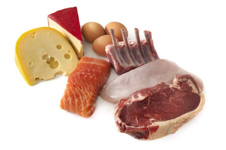 Sources of protein, including cheese, eggs, fish, lamb, chicken and beef.  Isolated on white. Stock Photo - 8180563
