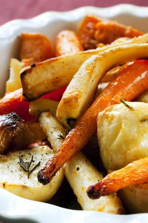 butternut: Roasted vegetables, including carrots, parsnips, shallots, potatoes, and butternut squash.