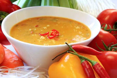 Laksa noodle soup, with ingredients.  Delicious Thai cuisine. photo