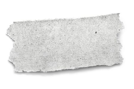 Torn textured newpaper, isolated on white with soft shadow.