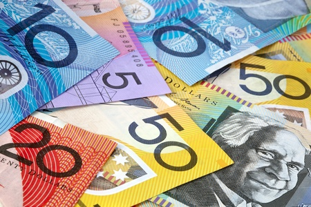 five dollar bill: Australian money, in full-frame.  Fifty, twenty, ten and five dollar notes. Stock Photo