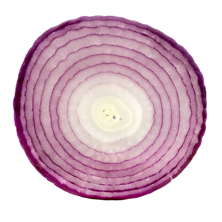 onion isolated: Slice of red onion, isolated on white background.