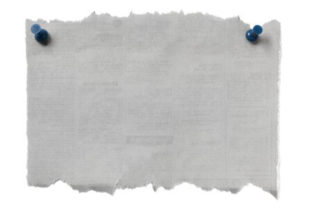 drawing pin: Torn blank newspaper fastened with blue pushpins.  Isolated on white with soft shadow. Stock Photo