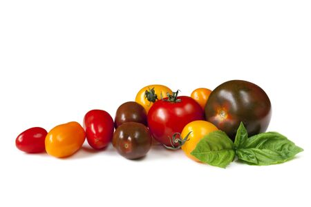 heirloom: Heirloom tomatoes with fresh basil, isolated on white. Stock Photo