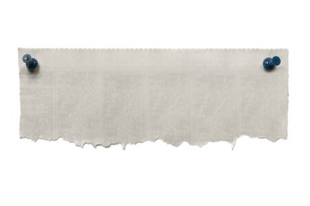 torned: Blank torn newspaper banner, fastened with blue pushpins.  Isolated on white. Stock Photo