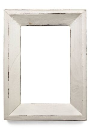 antique frame: Distressed white painted picture frame, isolated on white.