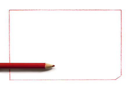 Red pencil over drawn rectangular border.  Lots of copyspace for your message. Stock Photo - 9178945