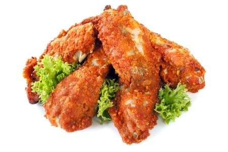 hot wings: Buffalo wings, isolated on white background.  Delicious spicy chicken.