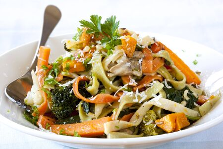 primavera: Fettucine primavera, topped with shaved parmesan.  Delicious spring vegetables.