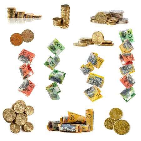 Collection of Australian money images, isolated white. photo