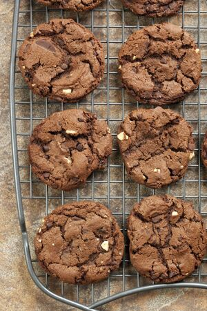 chocolate cookie: Galletitas de chocolate en un rack de refrigeraci�n, vista a�rea.