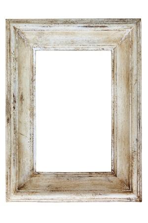 marco madera: Angustia blanco pintado marco, aislado sobre fondo blanco.