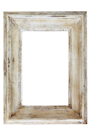weathered: Distressed white painted picture frame, isolated on white background.
