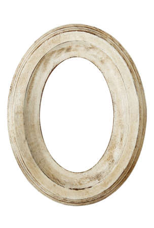 painted wood: Oval picture Frame, with distressed finish.  Isolated on white.