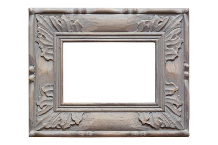 Carved wooden picture frame, with grey wash finish.  Isolated on white. photo