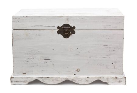 Old wooden trunk, closed.  Distressed painted finish.  Clipping path included. Stock Photo - 9501934