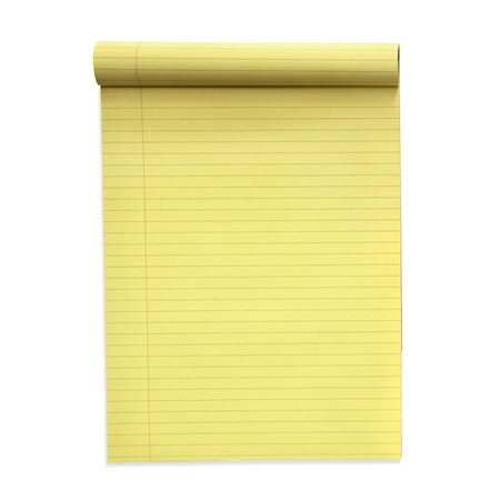 lined: Yellow lined notepad, isolated on white.  Clipping path included.