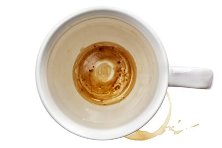 coffee stain: Empty coffee mug, with stains.  Overhead view, over white background. Stock Photo