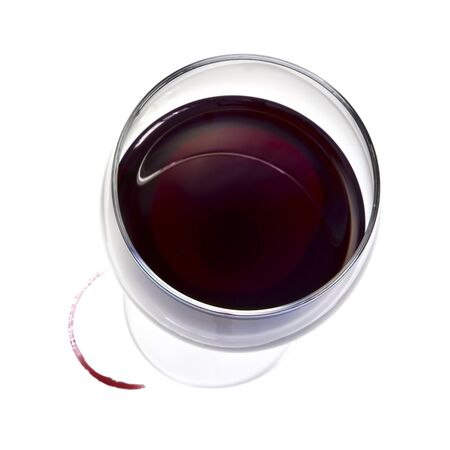 glass of red wine: Glass of red wine, with stain, isolated on white.