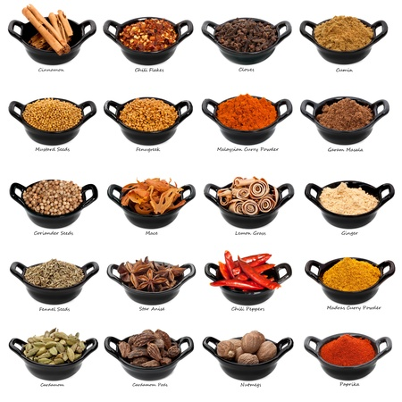 spezie: Un sacco di spezie in piccoli piatti neri, con i nomi sotto. File di XXXL. Archivio Fotografico