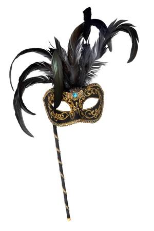 maski: Weneckie maski z uchwytem, na białym tle.