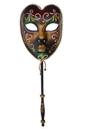 Venetian mask with handle, isolated on white background. photo