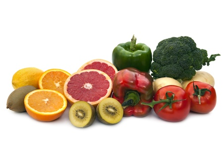 vitamin c: Foods rich in Vitamin C.  Includes broccoli, potatoes, tomatoes, bell peppers, grapefruit, kiwi fruit, oranges and lemons.