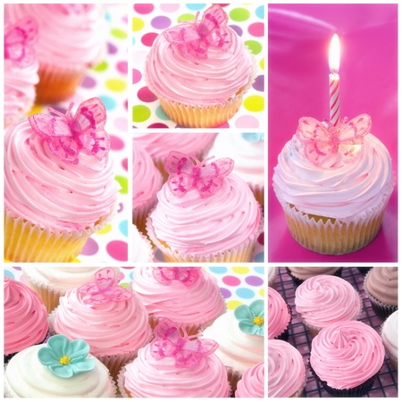 Cupcake collage.  Montage of cupcake images, in pastel tones. photo