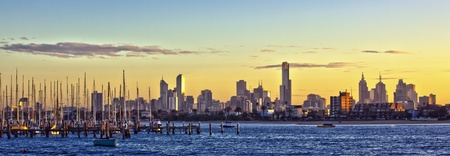 st kilda: Melbourne, Australia, at dawn, viewed from St Kilda.