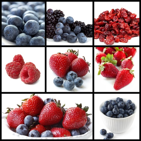 Collage of berry fruit images.  Includes blueberries, strawberries, blackberries, raspberries, and cranberries. photo