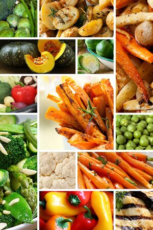 baked potatoes: Collage of healthy vegetables images.  Yum! Stock Photo