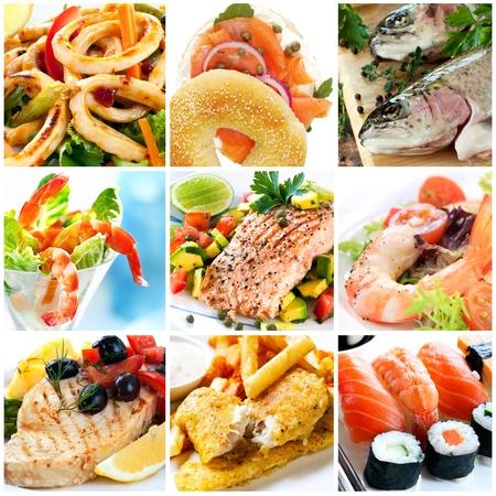 fish and chips: Collage de imágenes de mariscos.  Incluye calamares, salmón ahumado, trucha arco iris, gambas, Salmón Atlántico, pez espada, tradicionales fish and chips y sushi.