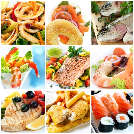 Collage of seafood images.  Includes calamari, smoked salmon, rainbow trout, prawns, atlantic salmon, swordfish, traditional fish and chips, and sushi. photo