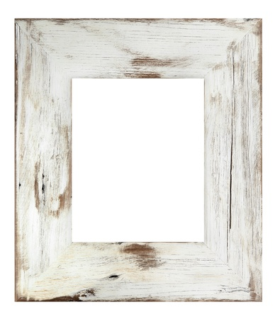 painted wood: Distressed white painted picture frame.  Weathered white timber.