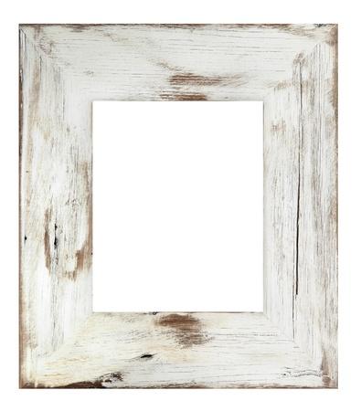 marco madera: Lamentando la imagen en blanco barnizado. Desgastado por el tiempo de la madera blanca.