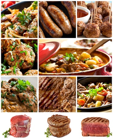 beef stew: Collage of beef images.  Includes casseroles, steak, sausages, meatballs, and stroganoff. Stock Photo