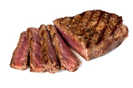 sirloin steak: Grilled beef steak, sliced, isolated on white background.