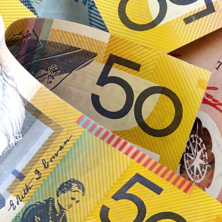 australian money: Australian money, in close-up.  Square composition.