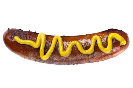 Single grilled hot dog with yellow mustard.  Isolated on white. photo