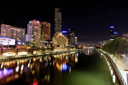 southgate: Melbourne, Australia, by night.  View of Yarra River towards Southbank. Stock Photo