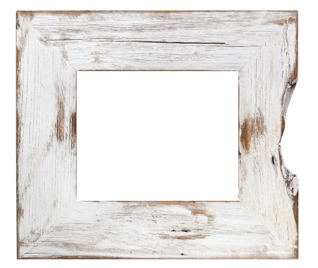 Distressed white painted picture frame, isolated on white. photo