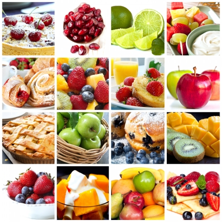 Collage of fruits and fruit desserts.  Delicious healthy eating. photo