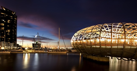 webb: Webb Bridge, Docklands, Melbourne, Australia, at night.