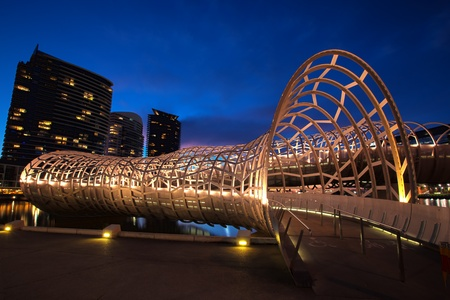 docklands: Webb Bridge, Docklands, Melbourne, Australia, at night.