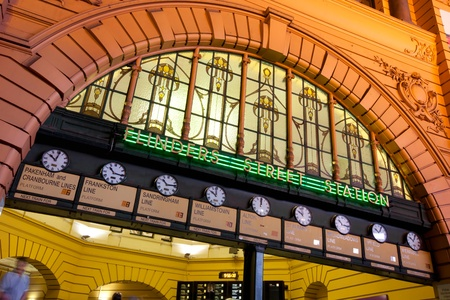 meeting place: The clocks at Flinders Street Station, Melbourne, Australia.  Under the clocks is a traditional Melbourne meeting place.